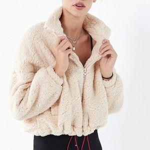 Willow Fuzzy Drawstring Jacket in Cream
